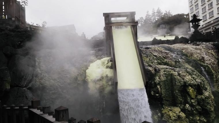 草津温泉湯畑の湯けむり
